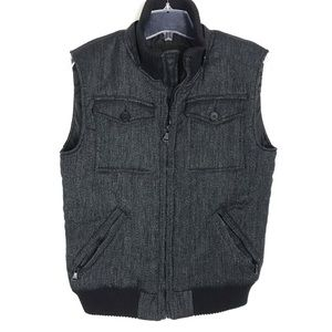 Zara Man zip Herringbone print black thick vest L